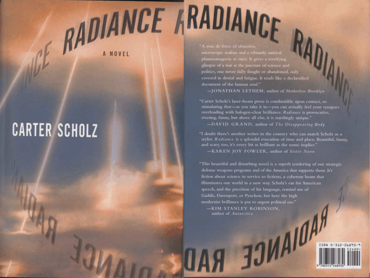 Front & back cover of first Picador hardcover edition of Radiance: A Novel, Scholz 2002