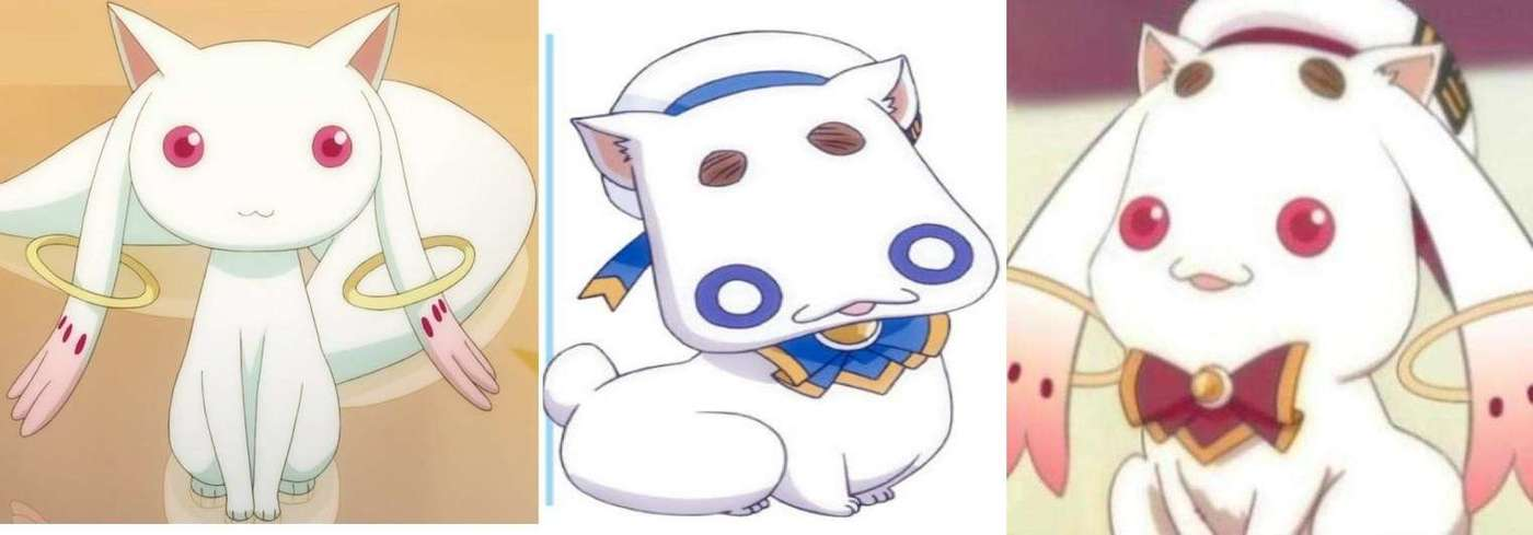 A visual comparison of Aria Company's cat and Madoka's Kyubey.