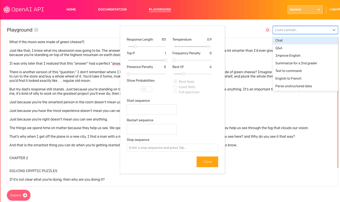 OA  Beta Playground UI & available prewritten  options