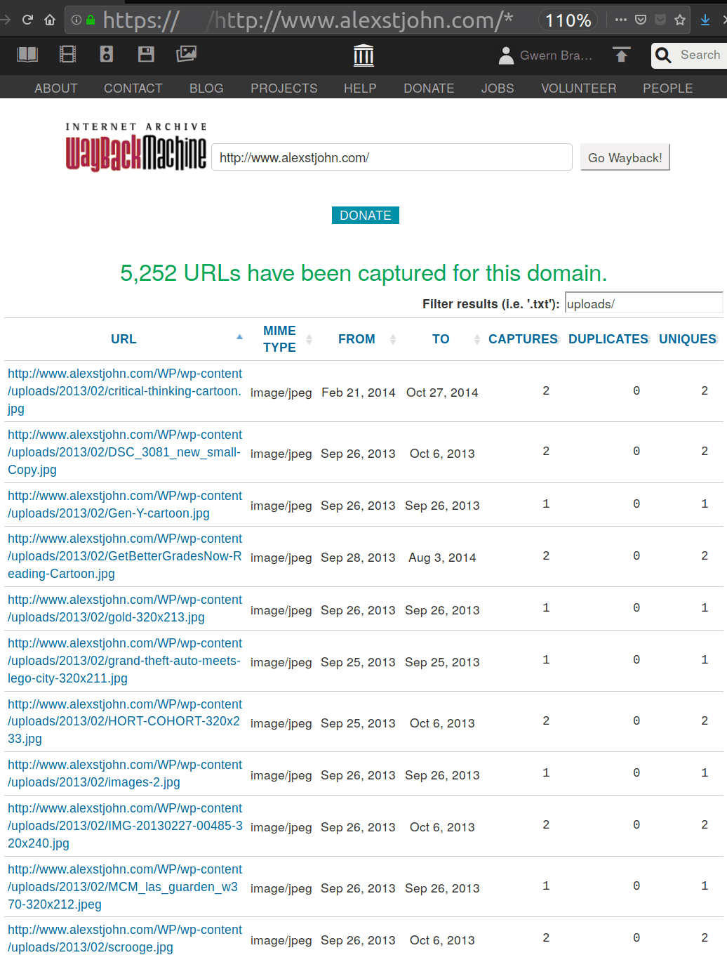 Screenshot of an oft-overlooked feature of the Internet Archive: displaying all available/archived URLs for a specific domain, filtered down to a subset matching a string like uploads/.