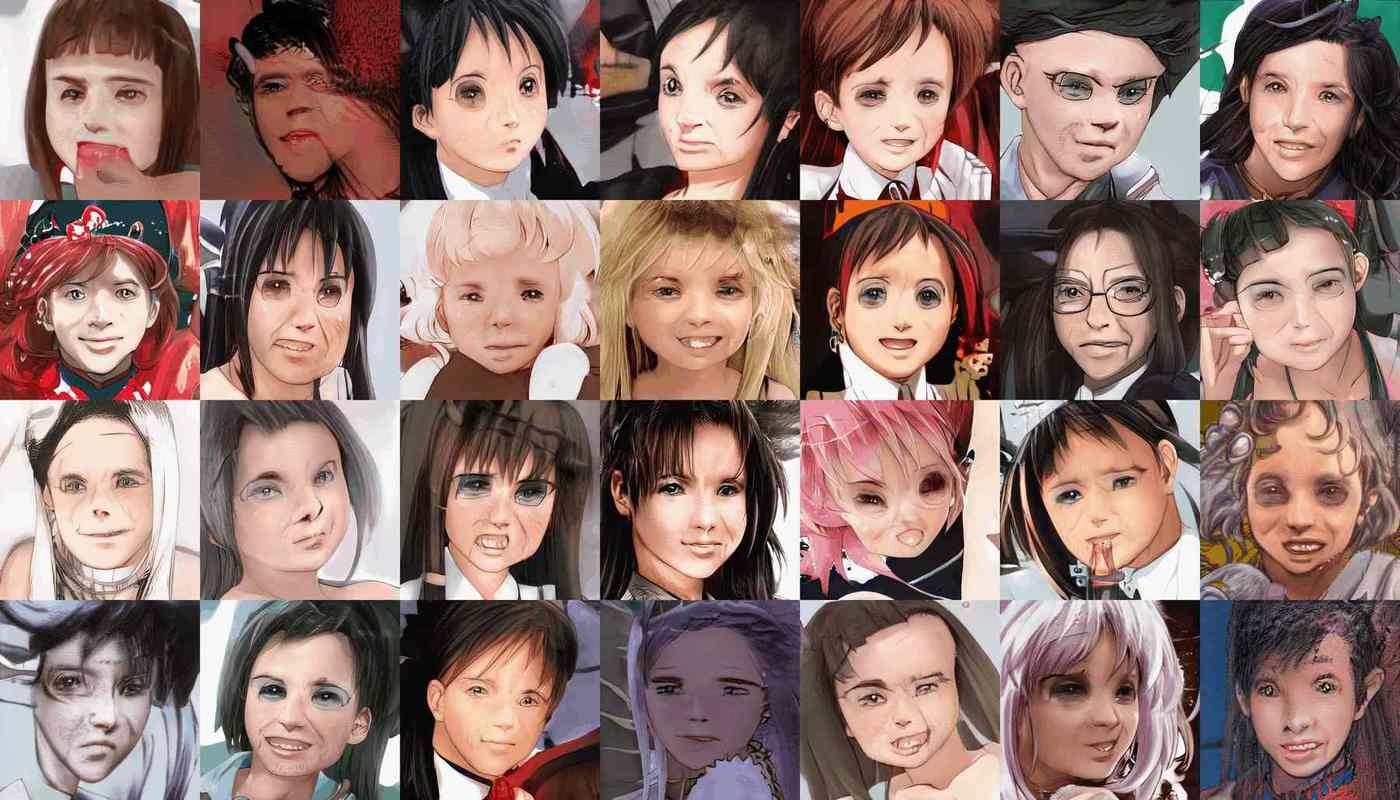 Random training samples of anime face→FFHQ-only StyleGAN transfer learning, showing bizarrely-artefactual intermediate faces