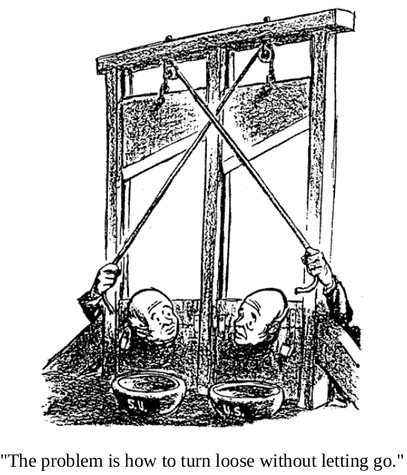 """The problem is how to turn loose without letting go.""  31-1. One powerful metaphor for the absurdity we have collectively dug ourselves into. The symmetry of the situation is acutely portrayed in this cartoon drawn by Bill Mauldin in 1960. Note that if either person releases his rope, thus chopping of his counterpart's head, that person's hand will go limp, thus releasing his rope and causing the other blade to fall and chop of the head of the instigator. That idea is a centerpiece of our current nuclear deterrence strategy: Even if we are wiped of the globe, our trUSty missiles will still wreak divine revenge on the evil empire of Satanic Uglies who dared do harm to US."