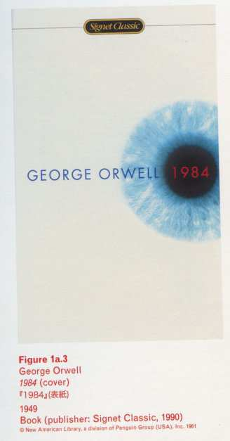 Caption left top: Figure 1a.3 George Orwell 1984 (cover) 1949 Book (publisher: Signet Classic, 1990)