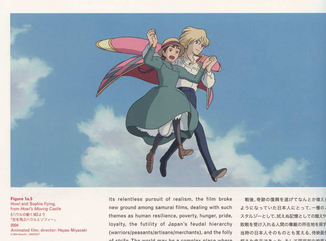 Caption left top: Howl and Sophie flying, from Howl's Moving Castle 2004 Animated film; director: Hayao Miyazaki