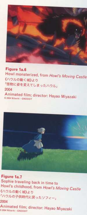 Caption right top: Figure 1a.6 Howl monsterized, from Howl's Moving Castle 2004 Animated film; director: Hayao Miyazaki Caption right middle: Figure 1a.7 Sophie traveling back in time to Howl's childhood, from Howl's Moving Castle 2004 Animated film; director: Hayao Miyazaki