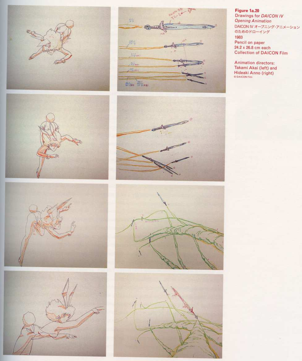 Caption left top: · Drawings for  IV Opening Animation · Pencil on paper · 24.2 × 26.8 cm each · Collection of  Film · Animation directors: · Takami Akai (left) and · Hideaki Anno (right)