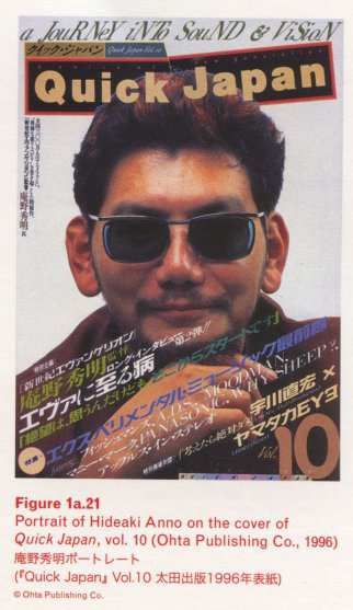 Caption left top: Figure 1a.21 Portrait of Hideaki Anno on the cover of Quick Japan, vol. 10 (Ohta Publishing Co., 1996)