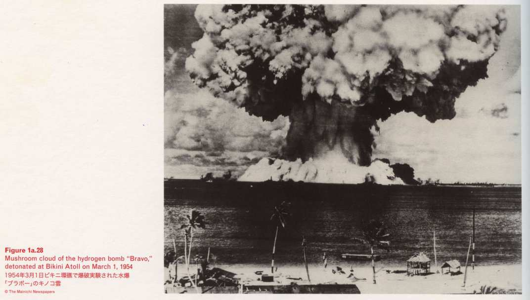 "Caption bottom left: · Figure 1a.28 · Mushroom cloud of the hydrogen bomb ""Bravo"", detonated at Bikini Atoll on March 1, 1954"