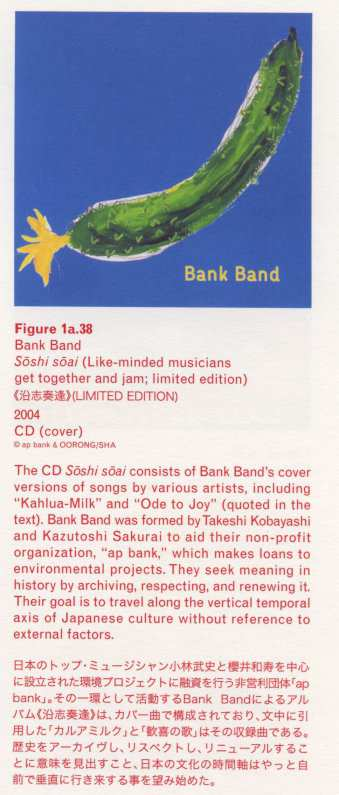 "[pg135] Caption right top: · Figure 1a.38 · Bank Band · Soshi soai (Like-minded musicians get together and jam; limited edition) · 2004 · CD (cover) · The CD Soshi soai consists of Bank Band's cover versions of songs by various artists, including ""Kahlua-Milk"" and ""Ode to Joy"" (quoted in the text). Bank Band was formed by Takeshi Kobayashi and Kazutoshi Sakurai to aid their non-profit organization, ""ap bank"", which makes loans to environmental projects. They seek meaning in history by archiving, respecting, and renewing it. Their goal is to travel along the vertical temporal axis of Japanese culture without reference to external factors."