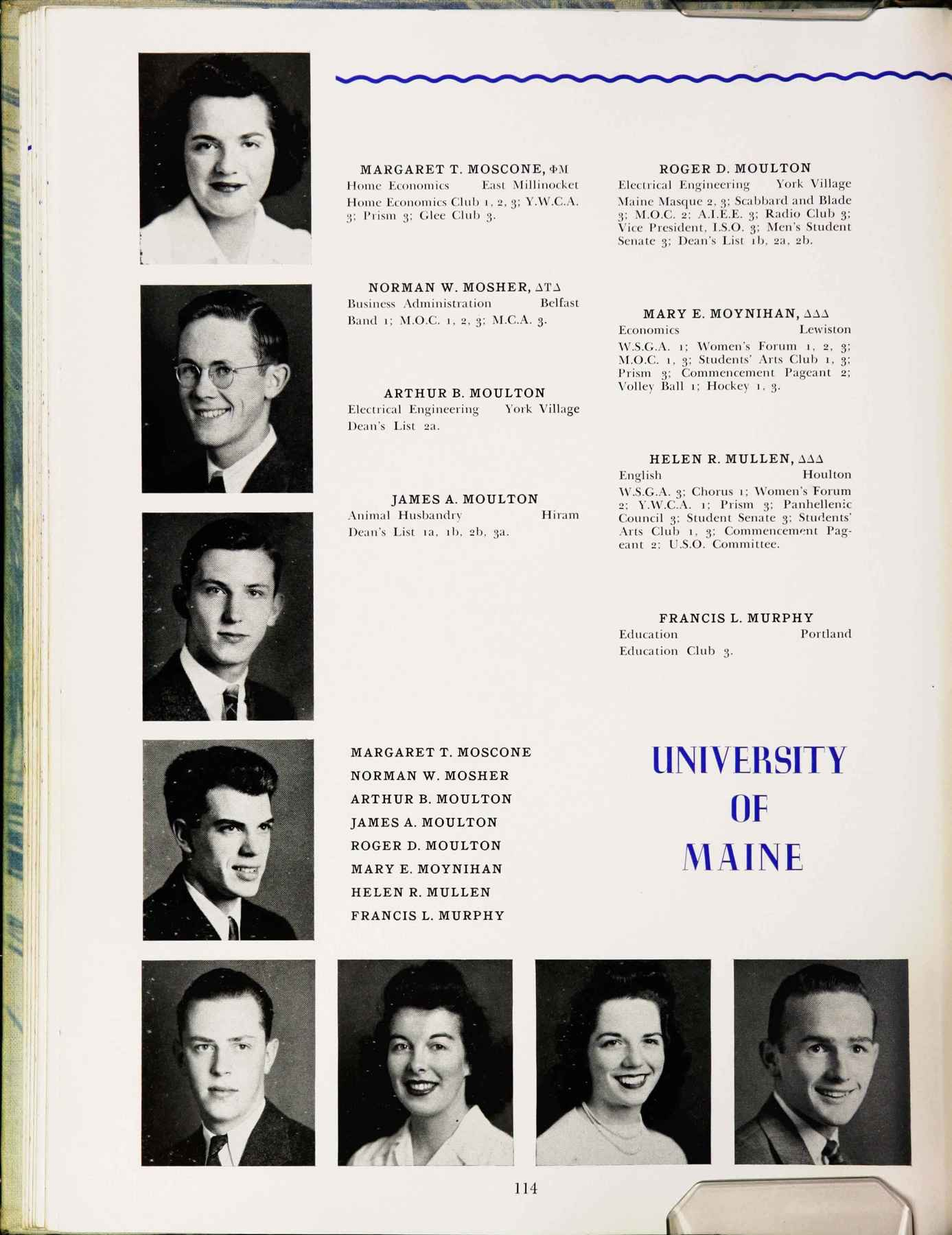pg114 of the 1943 University of Maine yearbook, with the entries for Arthur B. Moulton & Roger D. Moulton; Arthur is below the lad with glasses