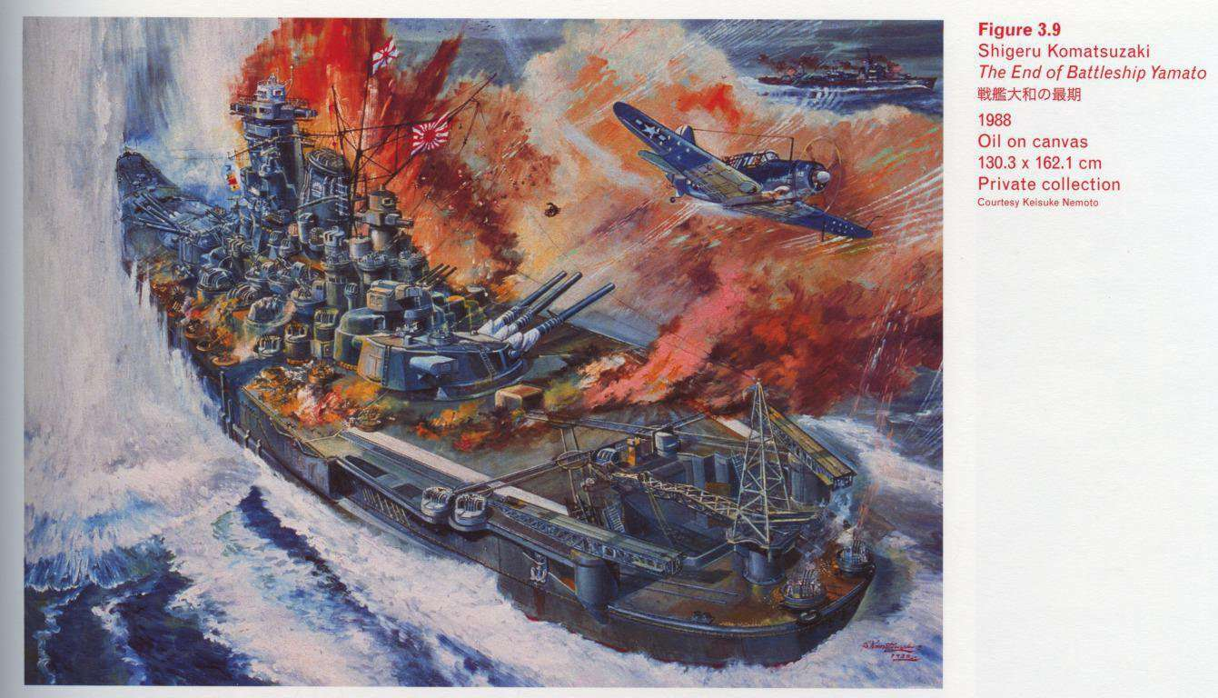 Caption top right: Shigeru Komatsuzaki, The End of Battleship Yamato, 1988, Oil on canvas, 130.3 x 162.1 cm, Private collection