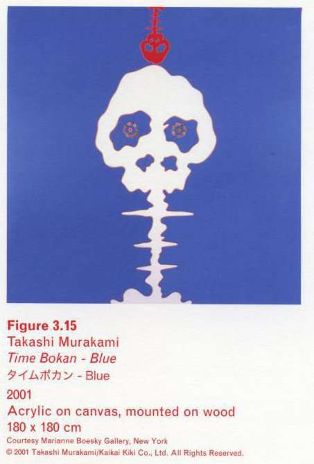 Caption left top: Takashi Murakami, Time Bokan - Blue, 2001, Acrylic on canvas, mounted on wood, 180 x 180 cm