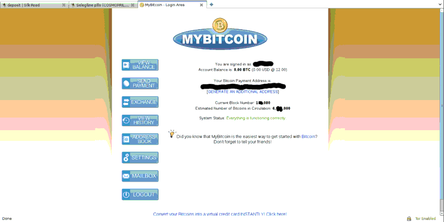 MyBitcoin deposit interface