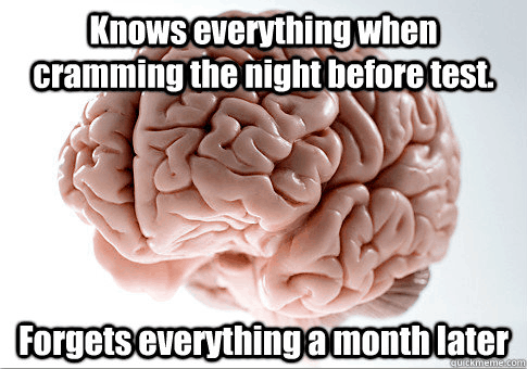 Scumbag brain meme: knows everything when cramming the night before the test / and forgets everything a month later
